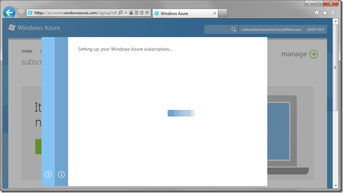 Loading screen during Setting up Windows Azure subscription