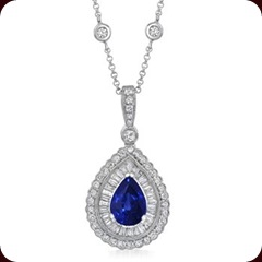 Pear Sapphire and Diamond Teardrop Designer Pendant in 18k White Gold