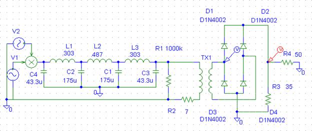 Schematic diagram of rectifier circuit
