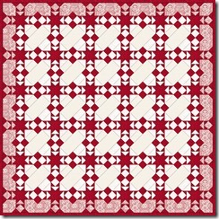 red and white quilt 78 x 78 with border