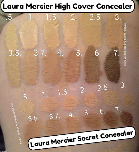 Laura Mercier High Coverage Concealer. Full Cover Review & Swatches of Shades.