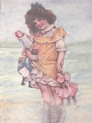 ATC watercolored w girl dolls at the beach