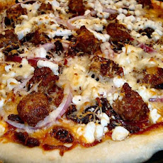 Auberge Chorizo, Goat's Cheese and Onion Pizza - Thin Crust