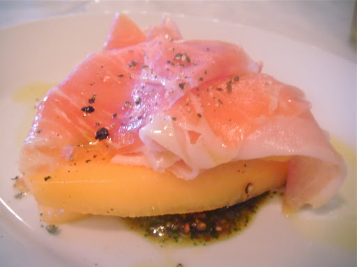 Serrano jamon, cantaloupe, almond and mint relish, Walrus & Carpenter [NL]