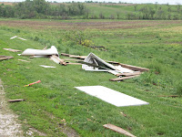 Damage from a flattened animal confinement at 330th and Red Oak in Washington County
