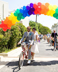 The couple called upon Party Land WLA to create a rainbow balloon arch to mark the start of the ride.