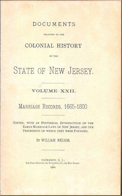 New Jersey, Marriage Records, 1683-1802 5
