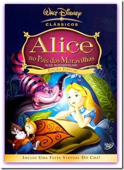 Capa com a imagem do desenho Alice no País das Maravilhas da Disney