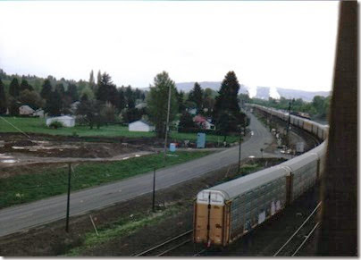 View from the Weyerhaeuser Woods Railroad (WTCX) Cowlitz River Bridge at North Kelso, Washington on May 17, 2005