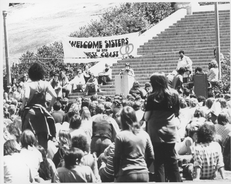 Robin Morgan gives the keynote address from Janss Steps at the first National Lesbian Conference, UCLA. April 14, 1973.