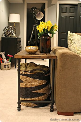 Wood and metal industrial side table from Thrifty Decor Chick