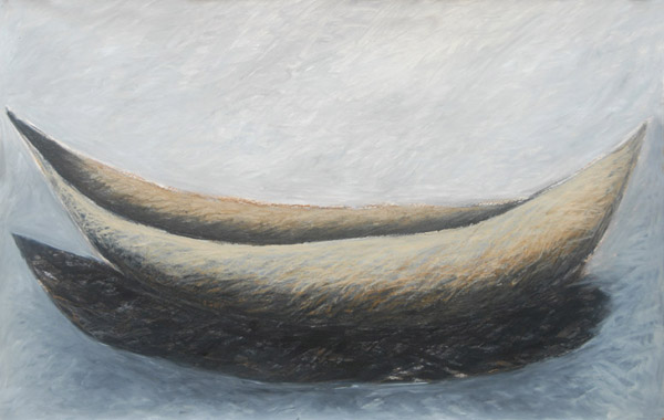Boat #2 <br> Acrylic paint, pastel, oil pastel,<br> charcoal on paper<br> 26 x 40 in