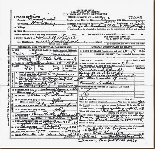 STEWART_Hobart B_death cert_1936_HockingFairfieldOhio