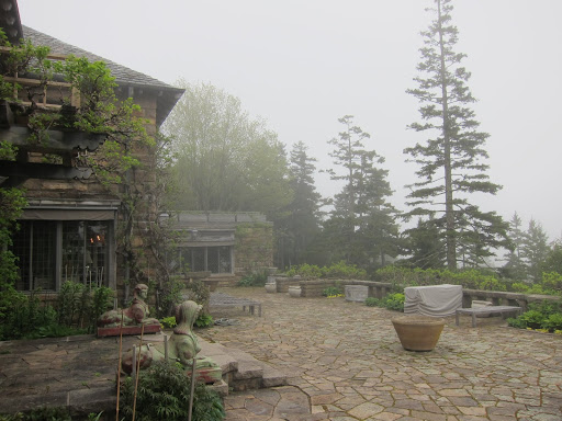 I see the fog has rolled in form the ocean.  This is the gorgeous terrace which will be planted with all of the pots we brought from Bedford.  Time to unload the trailer!