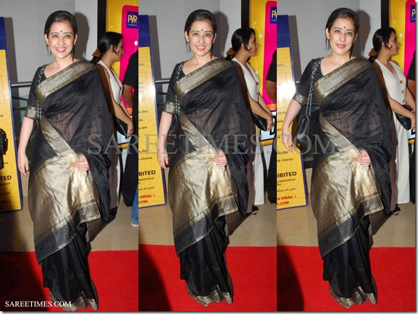 Manisha_Koirala_Black_Saree
