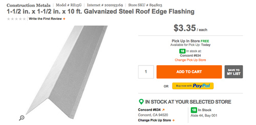 Galvanized steel roof edget flashing