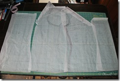 Final tissue pattern after making all of my adjustments.  I then took this and added the bottom half of the slip to it to complete the pattern and cut my muslin mock-ups.
