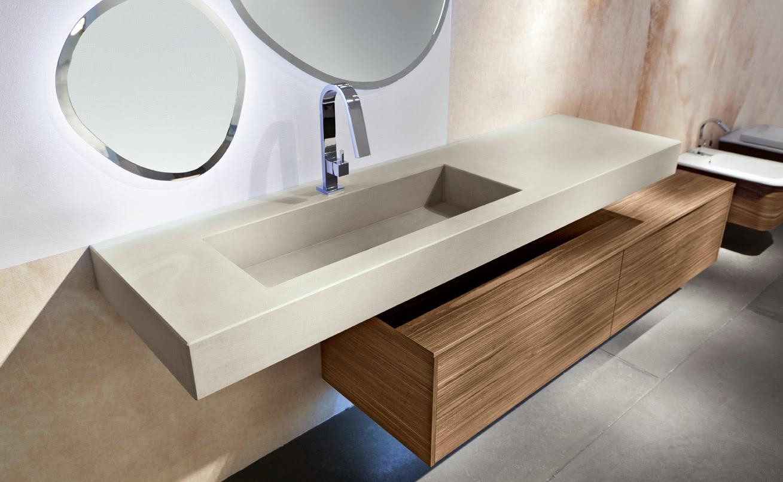 Lavabo a vasca rettangolare in resina cemento e mobile da for Migliori designer di mobili italiani