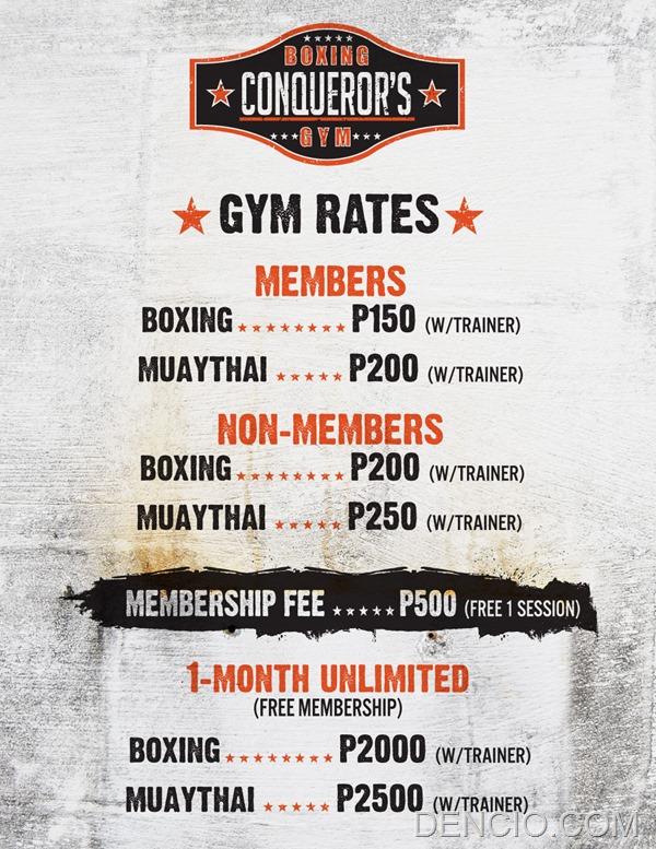 Conquerors Boxing Rates-Fees
