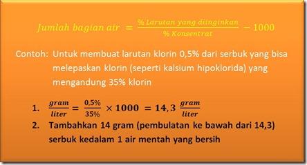 Rumus membuat klorin 0,5% dari serbuk kering