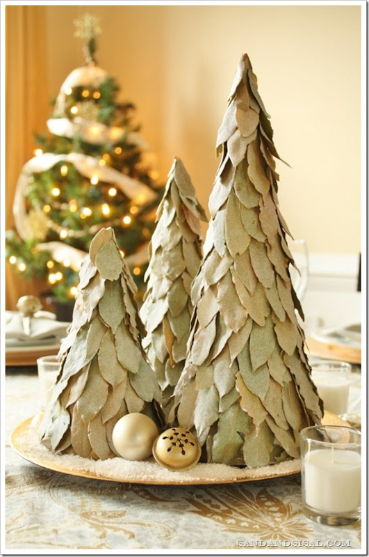 DIY Glitter Glamour - Glittered Bay Leaf Trees