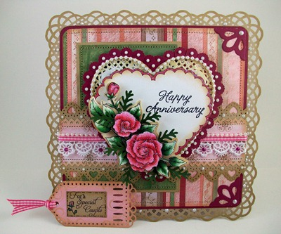 Pink Hearts Roses Anniversary Card1