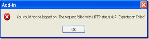 The request failed with HTTP status 417 Expectation Failed