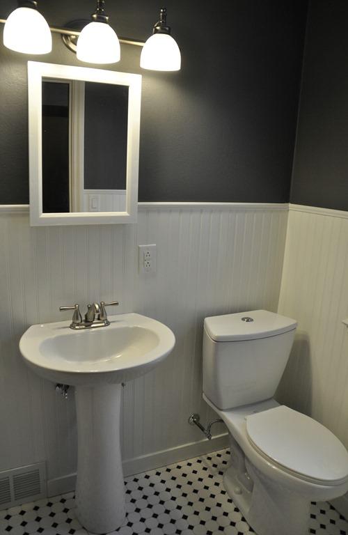 Bathroom Makeover (Beadboard, Peppercorn, Hex tile)