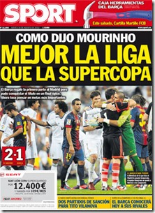 Portada de Sport Como dijo Mourinho mejor la liga que la supercopa