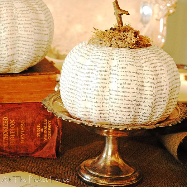 How to make a Book Page Pumpkin from Dollar Store pumpkins