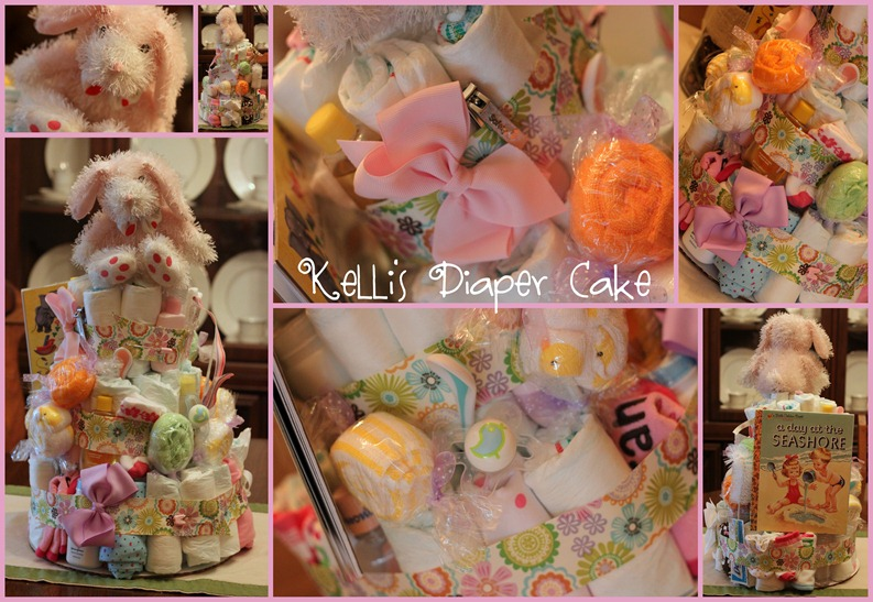 Kelli's Diaper Cake and Shower collage