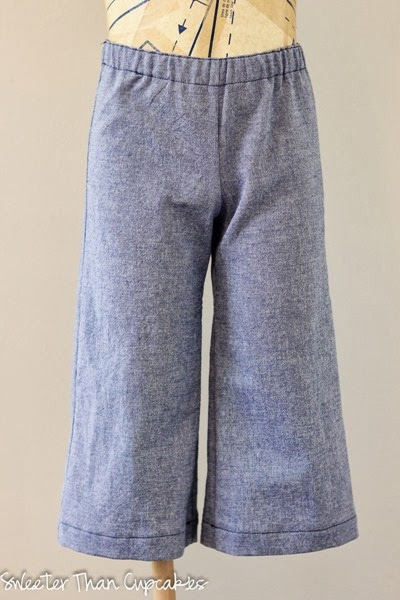 Chambray wide leg pants front