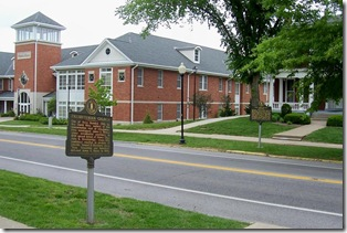Presbyterian Church marker along Main Street, marker John Todd Stuart across the street