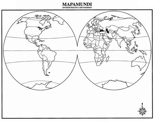 Mapamundi con división política sin nombres