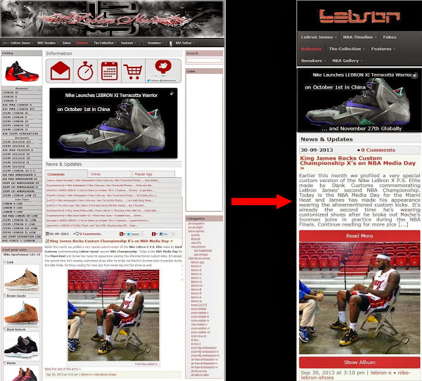 sidebyside mainpage NIKELEBRON.net Goes Mobile! New Design for Smartphones and Tablets.