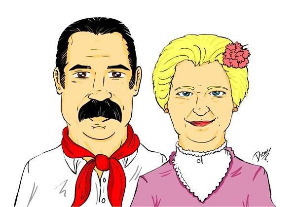 Caricatura Pinheiro e Lucia