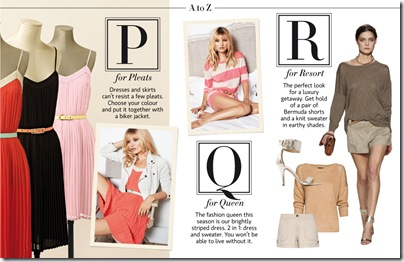 P for pleats, Q for queen, R for resort