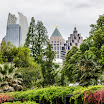 Atlanta Botanical Garden with the skyscrapers of midtown Atlanta