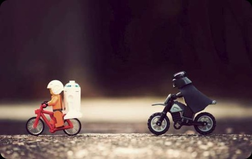 cool star wars darth vader on bike chasing biggs and r2d2 lego