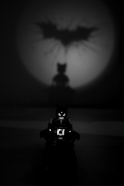 Lego Minifig Catwoman and the Bat Signal with a Cat Shadow