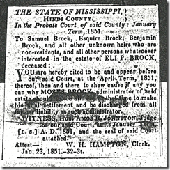 Newspaper Notice - Eli P. Brock, 1844