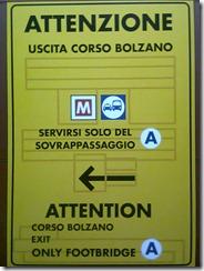 Cartello Metro a sinistra