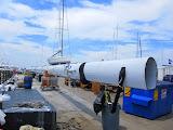A very tall mast at the Newport Shipyard
