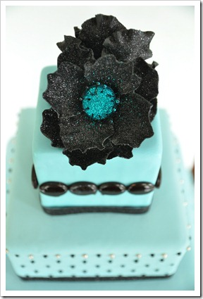 detail of teal cake
