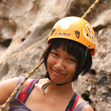 Trang after her first lead climb