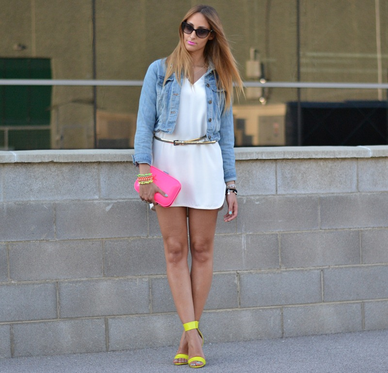 Christian Dior Zeli sunglasses, Zara White Dress, Zara TRF, Zara Clutch, Neon Bracelets
