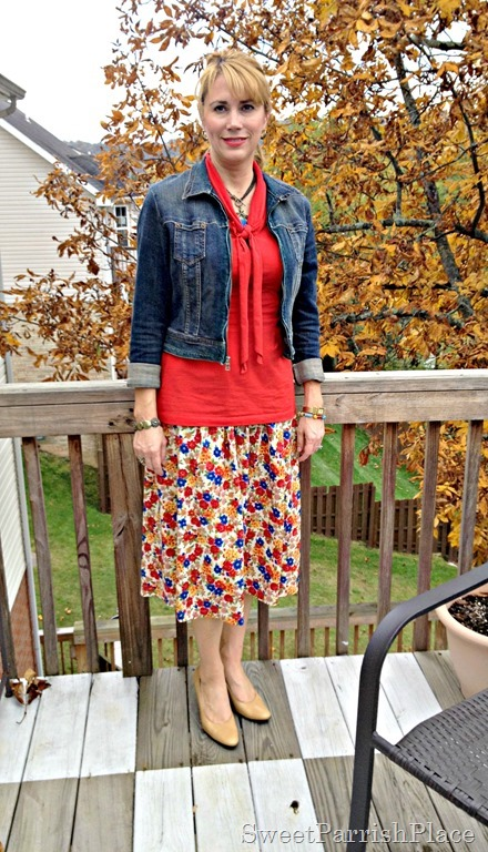floral skirt and denim