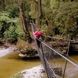 Walking the Cable Swing Bridge - Karamea, New Zealand