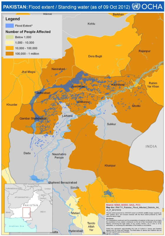 Flood extend and standing water in Pakistan, 9 October 2012. reliefweb.int