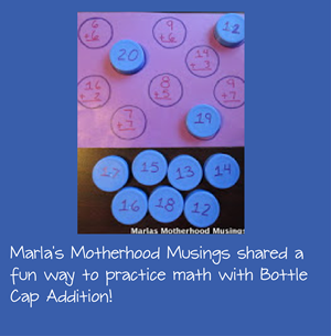 Bottle Cap Addition for Homeschool Math